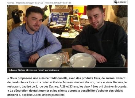 Article de Ouest France paru à l'ouverture du 2 rue des Dames, restaurant à Rennes